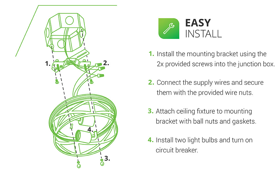 The Arcadia Industrial Ceiling Light from Sunco Lighting is easily installed with our install manual in a few simple steps. Here are the basics: 1. Install the mounting backet using the 2x provided screws into the junction box. 2. Connect the supply wires and secure them with the provided wire nuts. 3. Attach ceiling fixture to mounting bracket with ball nuts and gaskets. 4. Install two light bulbs and turn on the circuit breaker.