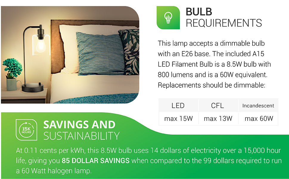 Bulb Requirements. This lamp accepts a dimmable bulb with an E26 base. The included A15 LED Filament Bulb is a 8.5W bulb with 800 lumens and is a 60W equivalent. Replacements should be dimmable. Bulbs accepted include: LED max 15W; CFL max 13W; Incandescent max 60W. Image shows lamp on a nightstand. Savings. At 11 cents per kWh, this 8.5W bulb uses 14 dollars of electricity over a 15,000 hour life, saving you 85 dollars compared to the 99 dollars required to run a 60 watt halogen lamp.