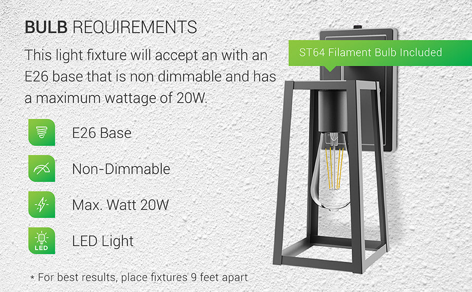 Bulb Requirements. This light fixture will accept any dimmable bulb with an E26 base and a maximum wattage of 20W. It features an E26 socket for dimmable or non-dimmable LED bulbs. The Avalon Caged Wall Sconce comes with a non-dimmable ST64 LED Filament Bulb. The fixture features Dusk to Dawn, so there is no need to use a D2D bulb. Image shows the entire sconce with the vintage look of its ST64 Filament bulb clearly seen through the durable, metal shade.