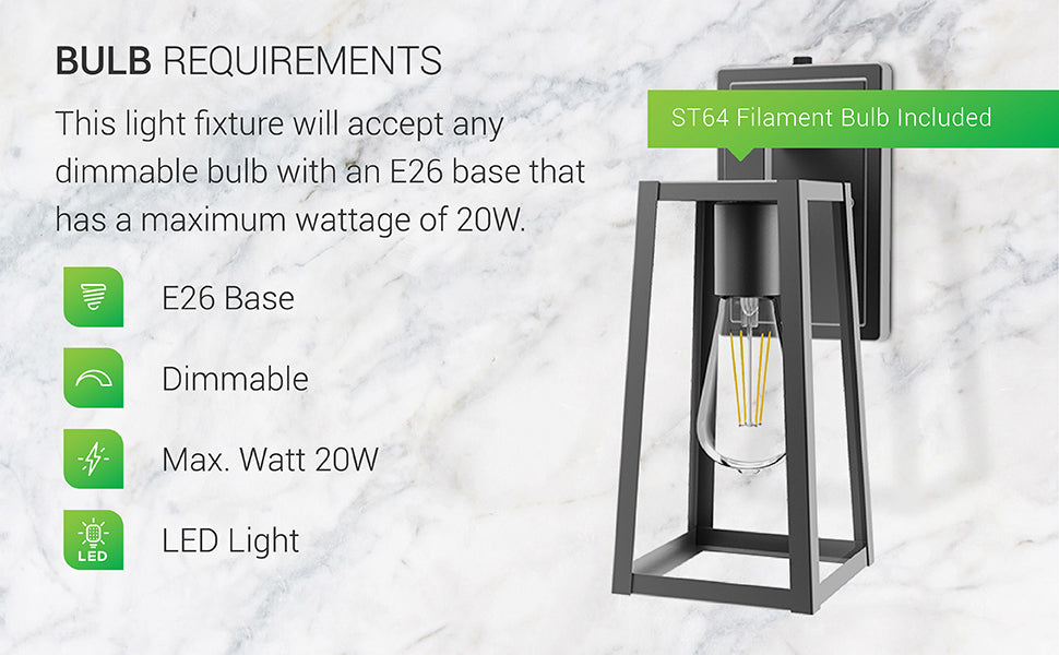 Bulb Requirements. This light fixture will accept any dimmable bulb with an E26 base with a maximum wattage of 20W. It features an E26 base for dimmable or non-dimmable LED bulbs. The Avalon Caged Wall Sconce comes with a non-dimmable ST64 LED Filament Bulb. Image shows the entire sconce with the vintage look of its ST64 Filament bulb clearly seen through the durable, metal shade. Accepts LED bulbs.