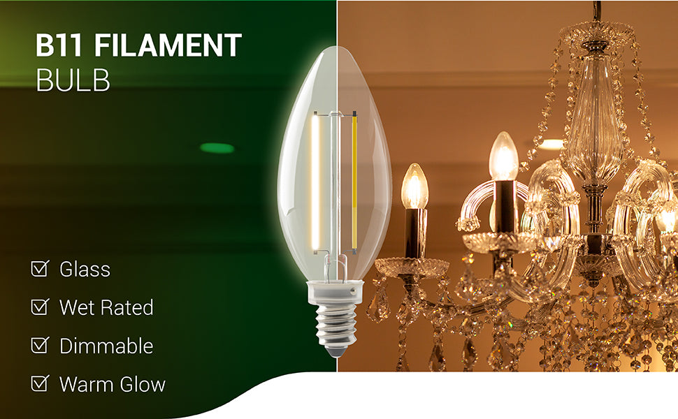 sunco lighting led light bulb B11 led candelabra bulb filament dimmable clear glass warm glow wet rated long lasting draw less power than a traditional incandescent light bulb close up of crystal chandelier