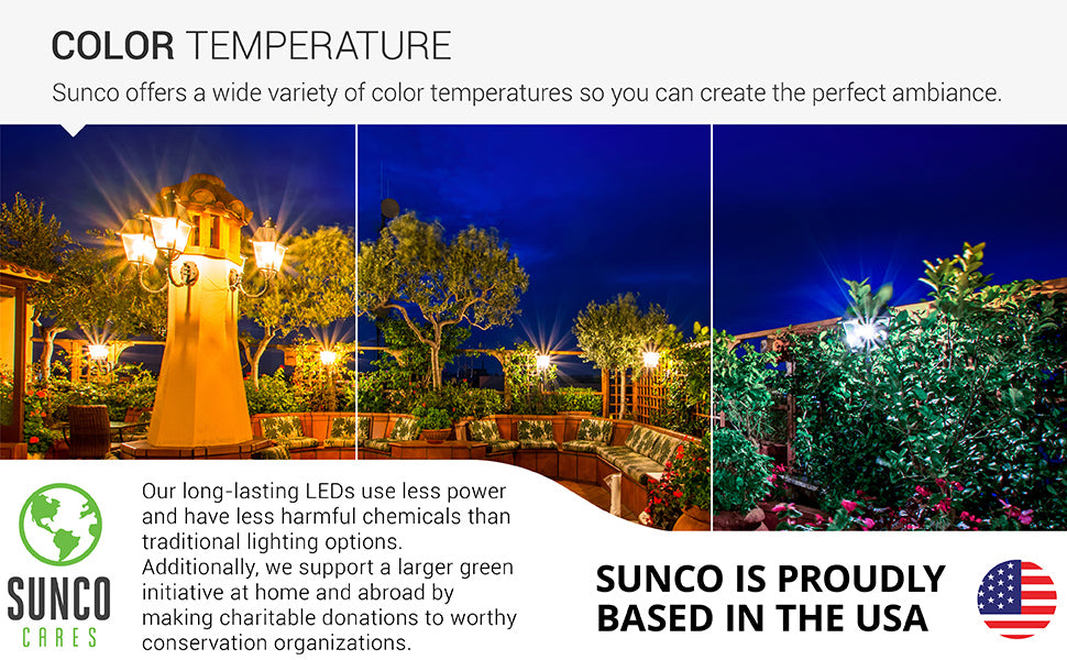 Sunco offers a wide variety of color temperatures so you can create the style you want with our long lasting LED bulbs. There are three color temperature choices: 2700K Soft White, 3000K Warm White, 5000K Daylight. Image shows an outdoor seating area with wall sconces and wall fixtures with the B11 LED Candelabra Filament Bulb with Dusk to Dawn in a variety of colors. Sunco is American owned and operated.