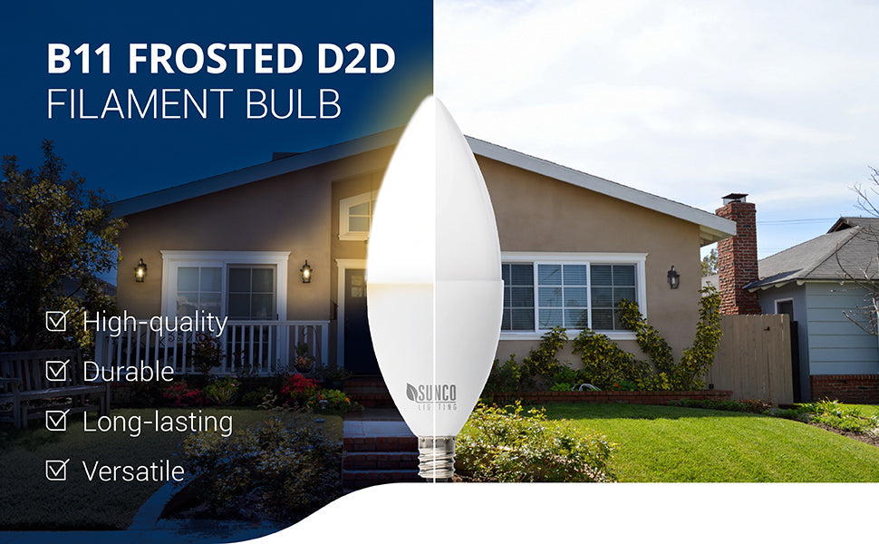 The durable and high-quality B11 Dusk to Dawn Filament Bulb features a frosted bulb that is ideal for chandeliers and wall sconces that accept an E12 base. The included Dusk to Dawn technology automatically turns on the light when no light is detected and turns it off again when light reappears. This versatile light allows you to automate your outdoor lighting without a timer since the built in D2D sensor does all the work for you. This is a candelabra bulb with a frosted tip.