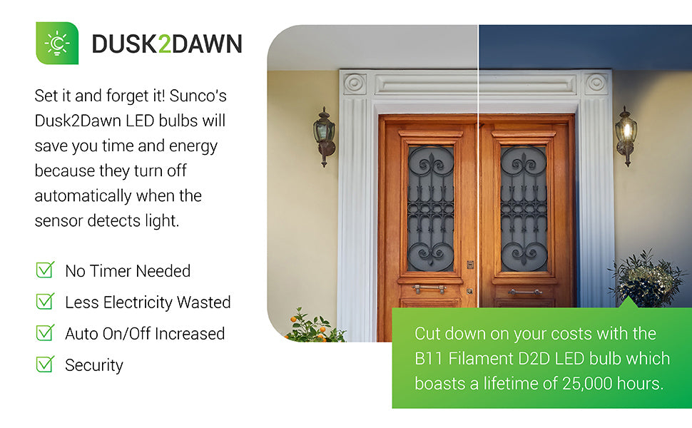Sunco's Dusk to Dawn LED bulbs save you time and energy, because they turn off automatically when the sensor detects light. Turns off at dawn. Turns on at Dusk. Includes built in photocell sensor with auto on/off for increased security and energy savings. Cut your costs with the B11 D2D LED bulb which offers a lifetime of 15,000 hours. Image features front door of a house with wall sconces. One side of image is daylight with bulb not illuminated. The other side shows light on at nighttime.