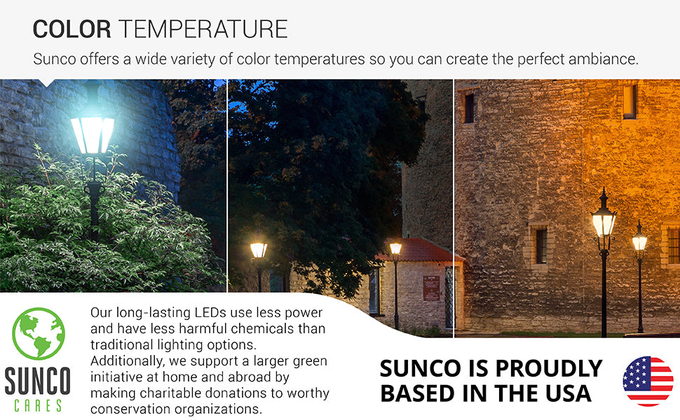 Sunco offers a wide variety of color temperatures so you can create the style you want with our long lasting LED bulbs. There are three color temperature choices: 2700K Soft White, 3000K Warm White, 5000K Daylight. Image shows exterior lanterns with covered, glass shade with the B11 LED Candelabra Frosted Bulb with Dusk to Dawn in a variety of color temperatures. Sunco is American owned and operated company based in the USA.