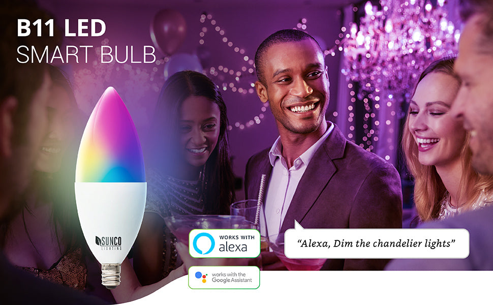 B11 LED Smart Bulb features voice control when you pair it with your Amazon Alexa or Google Assistant. You can also remotely control many settings via your smart device and an easy to use app. Image shows rainbow colored LED bulb as an artist's interpretation of the millions of color selection choices you can make. Bulb is actually white. Image shows a holiday party scene with friends, string lights, chandeliers and light bulbs. The host caption says: Alexa, dim the chandelier lights.