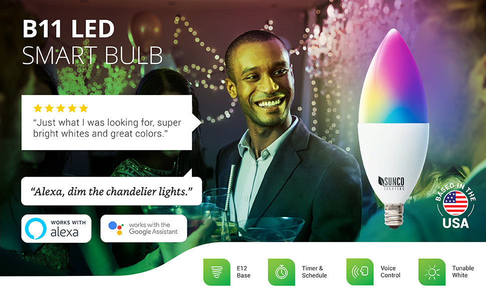 B11 LED Smart Bulb features voice control when you pair it with your Amazon Alexa or Google Assistant. You can remotely control settings via your smart device and an easy to use app. Image shows rainbow colored LED bulb as an artist's interpretation of the millions of color selection options. Bulb housing is frosted. Image shows a holiday party scene with string lights, chandeliers, and friends. Customer Review says: Just what I was looking for, super bright whites and great colors.