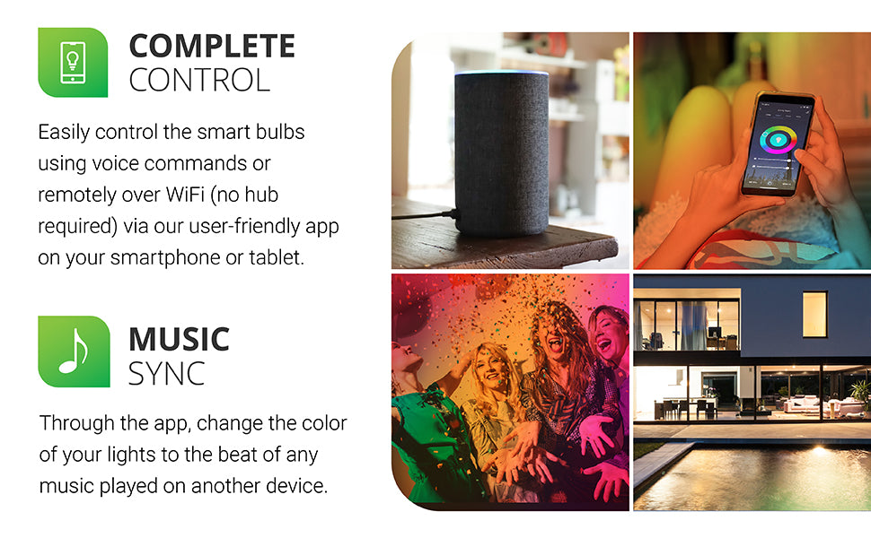 Sunco Lighting convenient b11 LED Smart Bulb Dimming color temperature hue rainbow voice control No Hub required app schedules scenes music sync Alexa or Google assistant so you can use your voice to control the lights