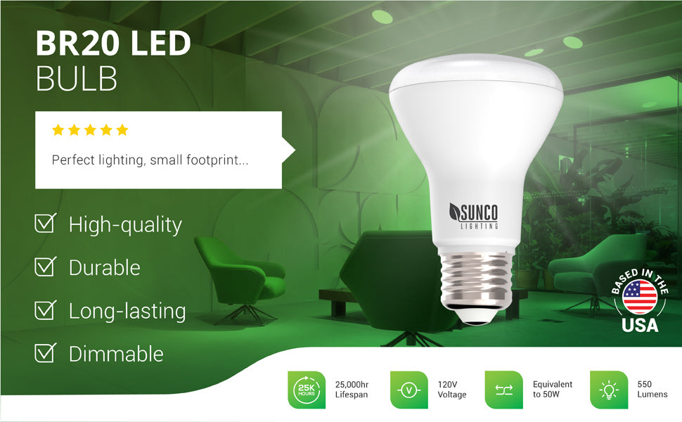 The durable and long-lasting Sunco Lighting BR20 LED Bulb is dimmable and fits in most downlight 4 inch recessed cans to deliver a diffused, wide flood light beam. With a 25,000 hour lifespan, this 7W LED is a 50W equivalent to reduce your power bill when compared to incandescent bulbs. This BR series bulb offers 550 lumens of light. Image shows it in track lighting in a waiting room. Customer review says: Perfect lighting, small footprint.