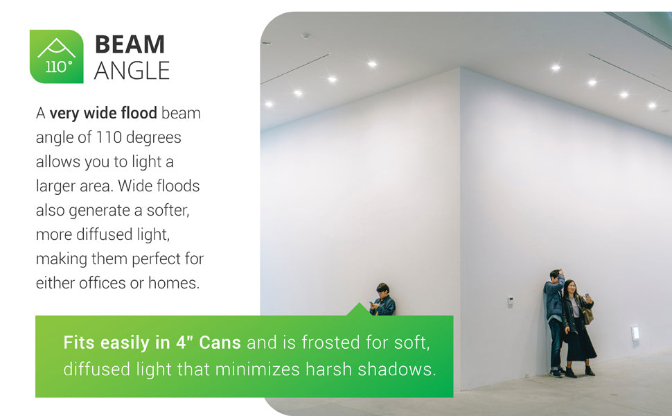 The very wide flood beam angle of 110 degrees in our BR20 LED Bulb allows you to light a large area. Wide floods generate a softer, more diffused light. This makes them perfect for either homes or offices or commercial spaces. The image shown includes people at an art gallery with rows of BR20 LEDs in recessed cans. This BR20 offers 550 lumens of bright light and fits in 4-inch recessed cans. It is frosted for soft, diffused light that minimizes harsh shadows in downlighting.