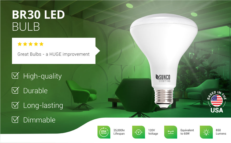 This dimmable BR30 LED Bulb offers a great downlight with low wattage and a durable, long-lasting lifespan of 25,000 bulb hours. This damp rated and high-quality BR30 LED from Sunco Lighting works well in 5- or 6-inch recessed cans for ceiling flood light and wall washes. Image shows Sunco BR30 LEDs in downlights at an elevator lobby. Use for commercial lighting applications or in a residential home setting. Bulk Buy options available. Indoor or Outdoor Flood Light - UL, Energy Star listed LED light bulbs