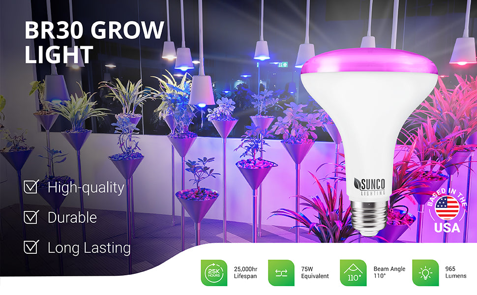 Sunco BR30 Grow Light is a high-quality and versatile indoor plant light that is durable and long-lasting with a 25,000 hour lifespan. It offers 965 lumens of bright light with blue and red spectrum for what plants need in all growth stages. 8W bulb is a 75W equivalent. E26 base means it fits most light fixtures in your home. Set up an indoor greenhouse or deliver sunlight-like quality light to your house plants on a desk or shady room. Image shows grow lights in pendant lamps above potted plants.