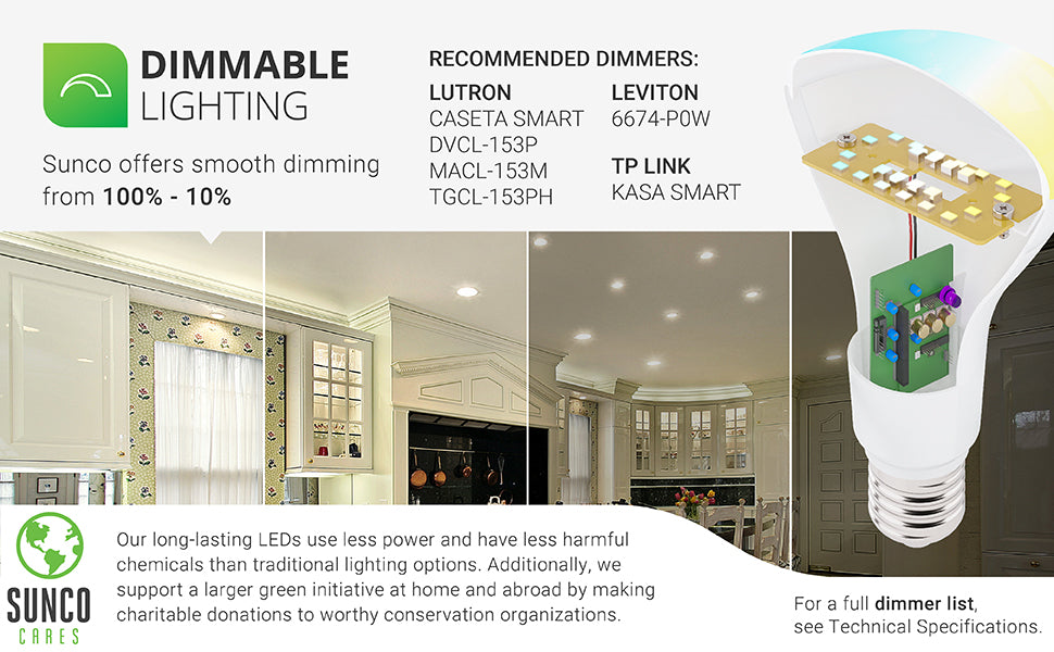 Sunco Lighting LEDs offer smooth dimming from 100-10%. A brief dimmer list is shown. For the full list, visit Manuals and Documentation page or contact customer service. Image shows a kitchen with BR30 LED Light Bulbs with Selectable CCT in recessed cans. This is an artist rendition of what a dimmed light might look like. Learn more about our SuncoCares initiative on that page or in our blog. Our long-lasting LEDs use less power and have less harmful chemicals than traditional lighting options.