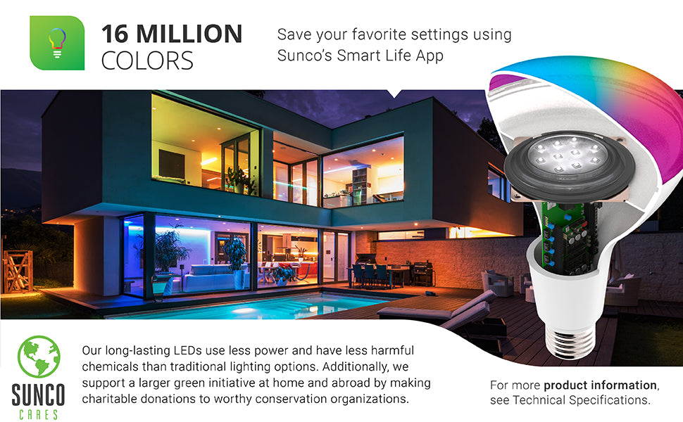 sunco lighting led light bulb BR30 smart bulb for downlights and cans is convenient and allows you to choose various colors using the smart life app and your smart phone or tablet