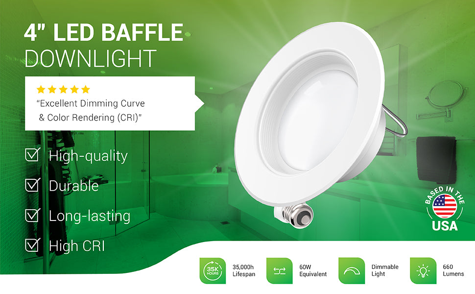 The durable 4-inch LED Baffle Downlight from Sunco Lighting is high-quality recessed LED lighting with a high CRI for accurate color rendering, a baffle trim, and an E26 adapter. This retrofit downlight fits in 4-inch cans. Some customers reviews of this LED downlight include: excellent dimming curve, color rendering (CRI), you can't go wrong with these, bright and easy to install, some of the best lights I've bought. Image of a master bathroom with warm LED downlights to light the space.