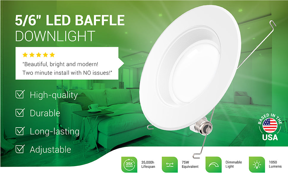 This durable and long-lasting 5/6-inch LED Baffle Downlight from Sunco Quality is a high-quality LED retrofit light for recessed cans. It is adjustable for either 5-inch or 6-inch can housings. It includes spring connectors to secure the LED into the can and offers both a TP24 connector and an E26 adapter to suit your power connection. Image shows a living room with recessed lighting in the ceiling. Customer review says: Beautiful, bright and modern! Two minute install with NO issues!