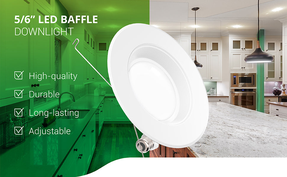 This durable and long-lasting 5/6-inch LED Baffle Downlight from Sunco Quality is a high-quality LED retrofit downlight to be used in existing recessed cans. It is adjustable for either 5-inch or 6-inch cans. It includes spring connectors to secure the retrofit LED fixture into the can and offers both a TP24 connector and an E26 adapter to fit different styles of recessed housings. These power the LED light fixture. Image shows a bright kitchen with recessed lighting in the ceiling.