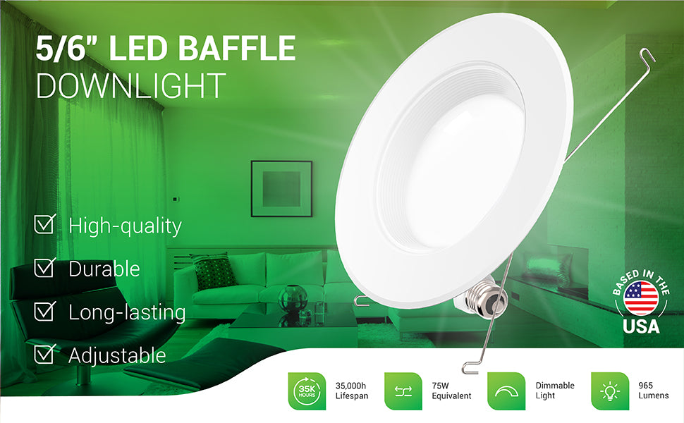 The dimmable 5/6-inch LED Baffle Downlight is a retrofit light to fit 5-inch or 6-inch recessed cans. This long-lasting LED light is adjustable with a screwdriver. The durable housing features a baffle trim. Comes with spring clips to attach to existing cans, and an E26 adapter. This high-quality product is shown here as ceiling lights in can housings in a living room. 13W=75W equivalent with its 965 lumens of bright, instant on light. Has a 35,000 hour lifespan.