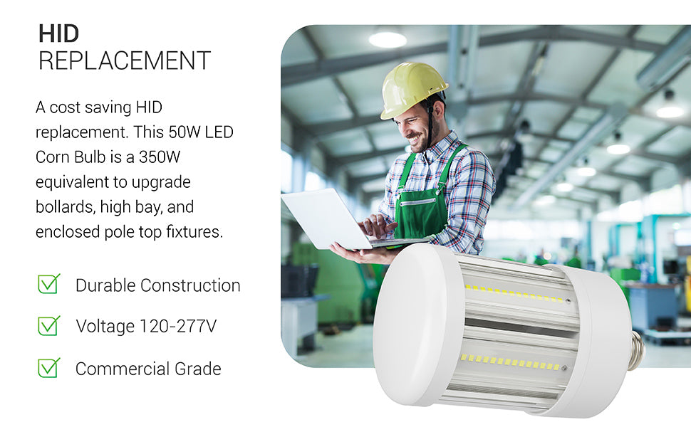 The LED Corn Bulb is an ideal HID replacement bulb. This 50W LED Corn Bulb is a 350W equivalent to upgrade bollards, high bay, and enclosed pole top fixtures. It features durable construction and is commercial grade with 120/277V. Image shows a warehouse shop space with high bays and our LED Corn Bulb..