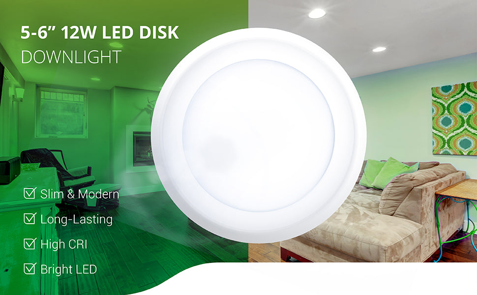 Sunco's 5 to 6-inch 12W LED Disk Downlight includes a modern look, slim profile, and a bright, long lasting LED with high CRI.