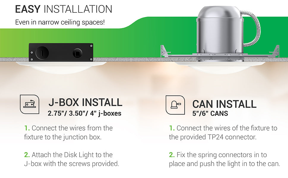 Easy Installation! Even in narrow spaces. This 12 Watt Disk Downlight can be installed surface mounted to your ceiling with a J-Box or inside a recessed can that is 5-inch or 6-inches. For the J-Box, simply connect the wires from the fixture to the junction box. Then attach the Disk Light to the J-Box with the provided screws. For the can install, connect the wires of the fixture to the provided TP24 connector. Fix the spring connectors into place and push the light into the can.