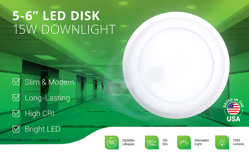 Sunco's 5 to 6-inch 15W LED Disk Downlight includes a modern look, slim profile, and a bright, long lasting LED with high CRI. Image shows the 15W Disk Downlight as a recessed ceiling light fixture in a business hallway. Suitable for offices, retail spaces, walk-in closets, living rooms, kitchens, and other applications. An ideal dimmable, recessed retrofit ceiling fixture to change downlights to energy efficient LEDs. Secures to junction box or can.