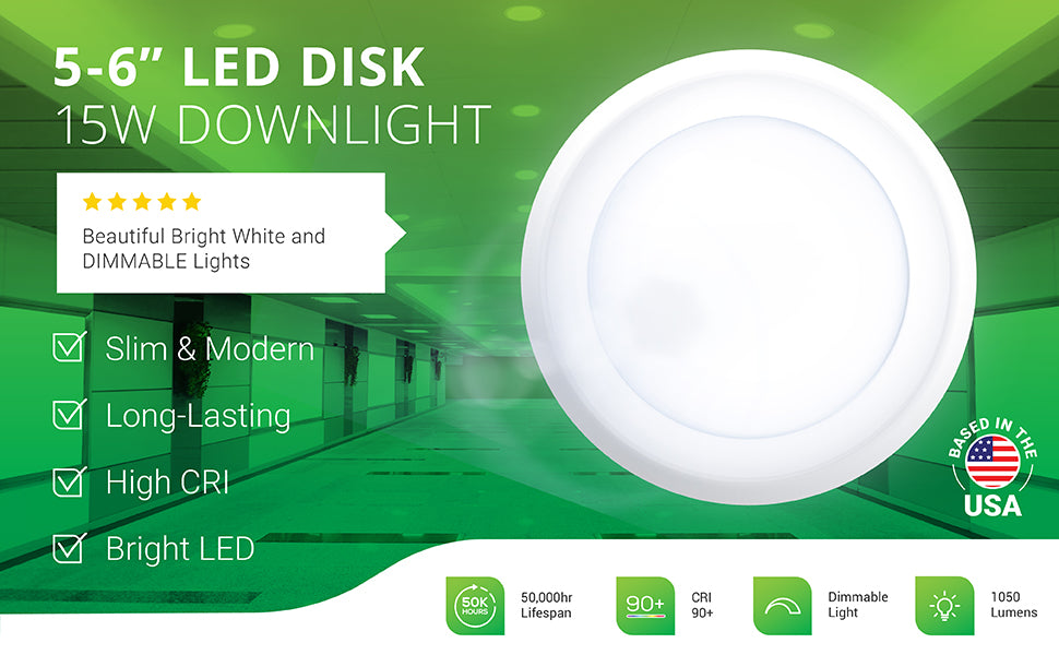 Sunco's dimmable 5 to 6-inch 15W LED Disk Downlight includes a modern look, slim profile, and a bright, long lasting LED with high CRI 90+ for accurate color rendering. Image shows the 15W Disk Downlight as a recessed ceiling light fixture in a business hallway. Suitable for offices, retail spaces, walk-in closets, living rooms, kitchens, and other applications. Slim and modern with an instant on 1050 lumens of bright light that has a 50,000 hour lifespan.