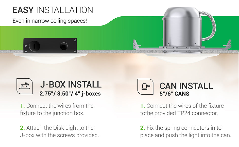 Easy Installation. Even in narrow spaces. This 15 Watt Disk Downlight can be installed surface mounted to your ceiling with a J-Box or inside a recessed can that is 5-inch or 6-inches. For the J-Box, simply connect the wires from the fixture to the junction box. Then attach the Disk Light to the J-Box with the provided screws. For the can install, connect the wires of the fixture to the provided TP24 connector. Fix the spring connectors into place and push the light into the can.