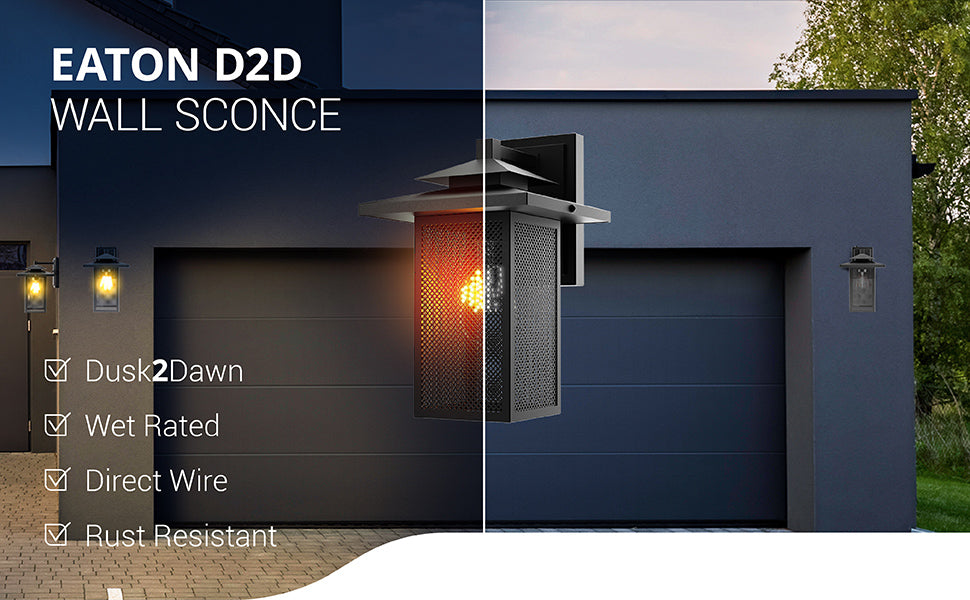 The wet rated Eaton Caged Wall Sconce with Dusk to Dawn from Sunco Lighting features a rust resistant wrought iron frame in a matte black finish. Direct wire this fixture to provide exterior lighting with Dusk to Dawn features. The built-in sensor automatically turns on the LED when no light is detected and turns it off again in the morning when light returns. You get bright light all night without a timer. Accepts an E26 socket bulb. Wet rated for outdoor use.