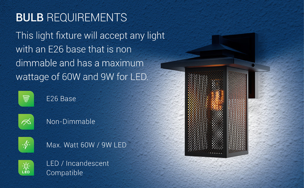 Bulb Requirements of the Eaton Caged Wall Sconce with Dusk to Dawn. This light fixture will accept a light bulb with an E26 base that is non dimmable and has a maximum wattage of 60W, 9W for LED. Compatible with both incandescent (60W max) and LED (9W max). Image shows the steel mesh panes lit from within by an LED filament bulb, not included, with a warm, amber glow on an exterior wall. Includes Dusk to Dawn capabilities for automated lighting.