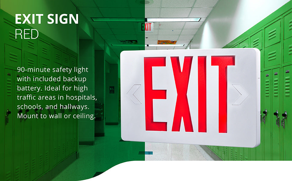 Sunco Red LED Exit Sign provides a single or double-face sign to direct people to safety during a power failure. A 90-minute safety light with included backup battery that activates during a power outage. Ideal for high traffic areas in hospitals, schools, and hallways. Mount to wall or ceiling. Note the directional arrows have removable knockouts to point to left or right of 6-inch tall red letters spelling the word EXIT. Image shows a school hallway with an Exit Sign installed on the ceiling.