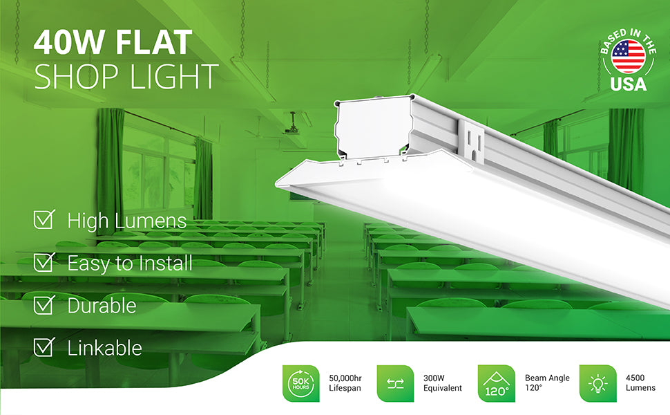 Sunco Lighting 40W Flat Shop Light is an LED integrated light to reduce your relamping with long lifetime and integrated tubes. It is easy to install. Image shows a classroom with the Sunco LED Flat Shop Light and clear cover suspended for overhead task lighting.