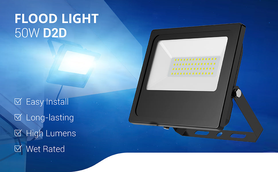 Sunco 50W Flood Light Dusk to Dawn is easy to install, long-lasting, wet rated and provides high lumens for bright light