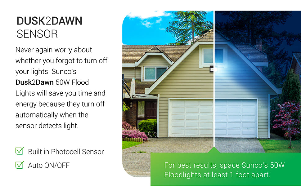 Dusk to Dawn Sensor. Reassure yourself about the lights at home. Sunco Dusk to dawn 50W Flood Lights save you time and energy, because they turn off automatically when the sensor detects light in the morning. They also automatically turn on at night when the sun sets. This auto on/off feature is due to a built in photocell sensor that does all the work for you. Just turn on the power and light appears when it is dark.