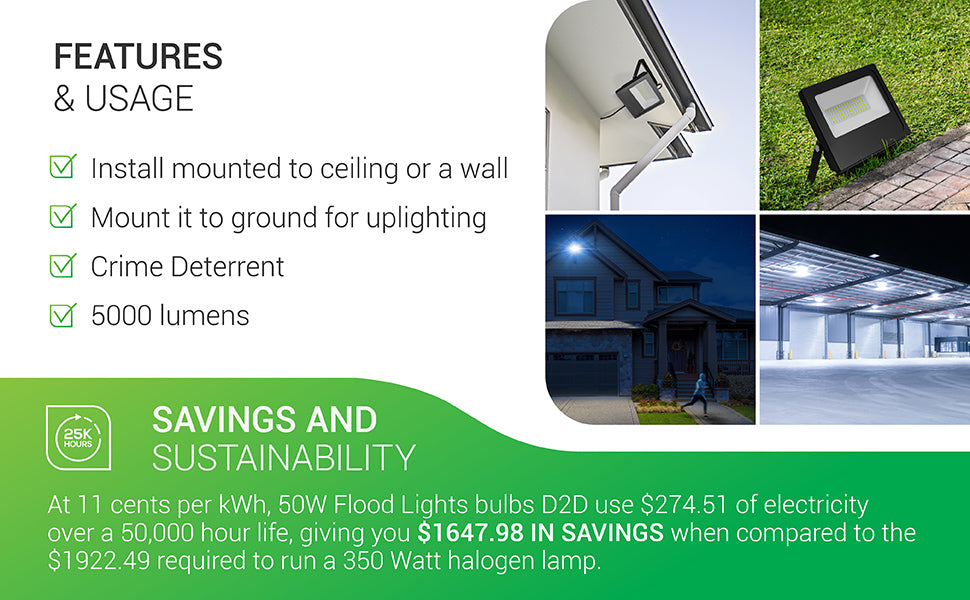 Features and Usage of the LED Flood Light 50W Dusk to Dawn light fixture. Install mounted to a ceiling or a wall, mount it to ground for uplighting, use it as a crime deterrent. Provides 5000 lumens of bright light. Savings and Sustainability details provided. Contact Customer Service for more details.