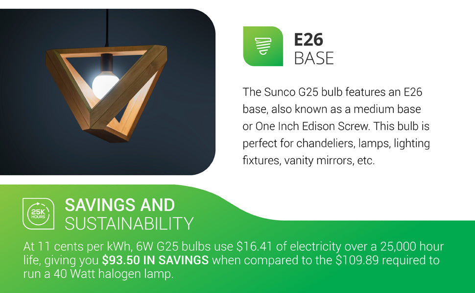 G25 LED Bulb features an E26 base, known as a medium base or 1-inch Edison screw base. This bulb is perfect for chandeliers, lamps, lighting fixtures, vanity mirrors, and more. It is damp rated and suited for indoor, accent lighting. This G25 LED offers savings and sustainability. At 11 cents per kWh, 6W G25 bulbs use 16.41 dollars of electricity over a 25,000 hour life. It gives you 93.50 dollars in savings when compared to the 109.89 dollars required to run a 40 watt halogen lamp.
