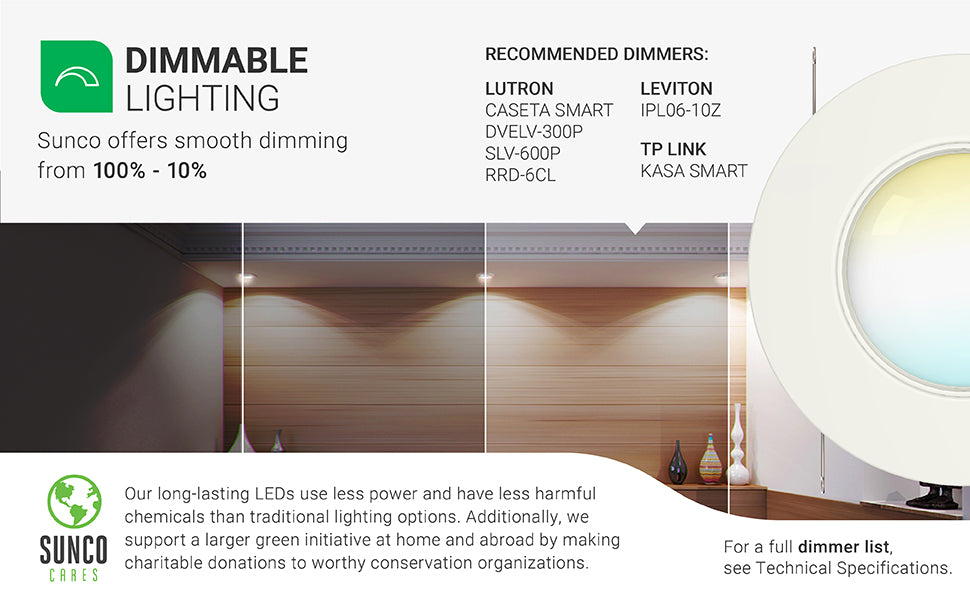Dimmable Lighting. Sunco offers smooth dimming from 100 percent to 10 percent. Image shows an artist rendition of what a kitchen would look like when dimmed or bright. Also shows an exploded view of our 5-6-inch recessed light with baffle trim that is damp rated to show all the components inside it. Short list of recommended dimmers including Lutron and Leviton. See full dimmer list for more. Long lasting LEDs use less power and have less harmful chemicals than traditional lighting options.