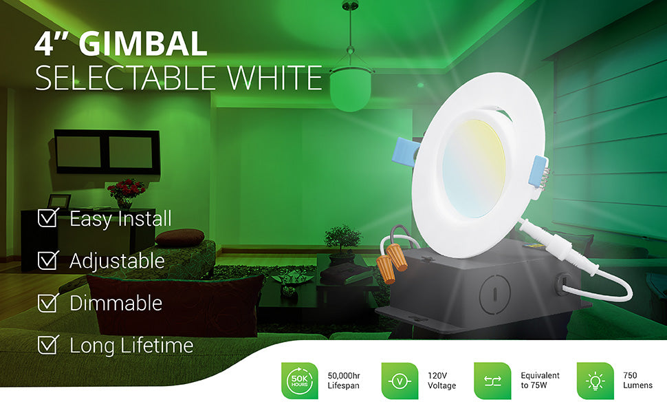 This dimmable 4-inch Slim Gimbal with Selectable White offers easy install, an adjustable gimbal lens, and a long lifetime of 50,000 hours. The 12W slim downlight runs on 120V and is a 75W equivalent with its 750 lumens of bright light. Image shows the 4-inch gimbal lighting up an office waiting area and a closeup overlay of the LED downlight with its gimbal lens tilted and the included junction box, wire nuts, and twist connector. This eyeball light adjusts to point light where you need it.