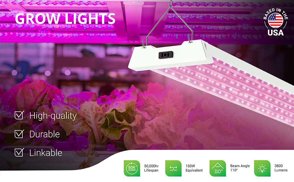 Sunco's grow lights give you control of the growing season. They are designed to promote plant growth indoors using LED technology. No ballast required. Grow plants, seedlings, vegetables, flowers, and fruits inside with 50W full spectrum light. Fixture is integrated LED and can be suspended on hanging chains, as shown here.