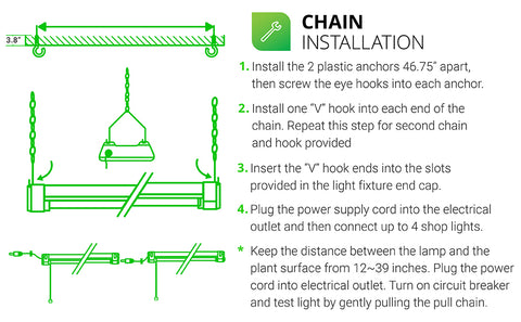 4 step install of Full Spectrum Grow Light. Full steps in install manual. Highlights include: 1. Install plastic anchors, then screw the eye hooks. 2. Install one V hook into each end of the chain. Repeat for second chain and hook provided. 3. Insert the V hook ends into the slots in the light fixture end cap. 4. Plug the power supply cord into the electrical outlet and then connect up to 4 shop lights. Note - keep the distance between the lamp and the plant surface from 12 to 39 inches.