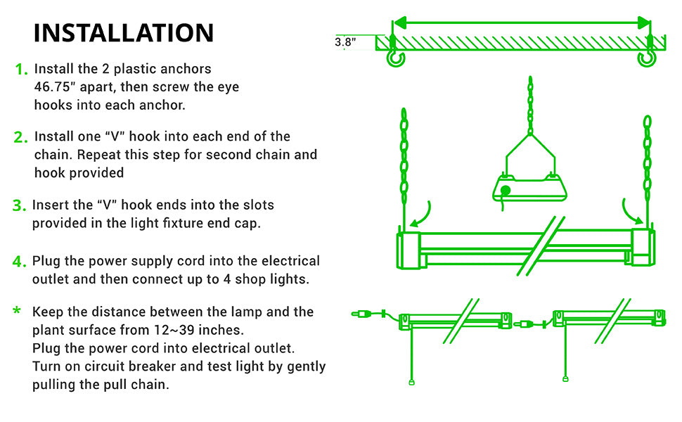 Installation. 4 step installation of Full Spectrum Grow Light with drawings. 1. Install the 2 plastic anchors 46.75