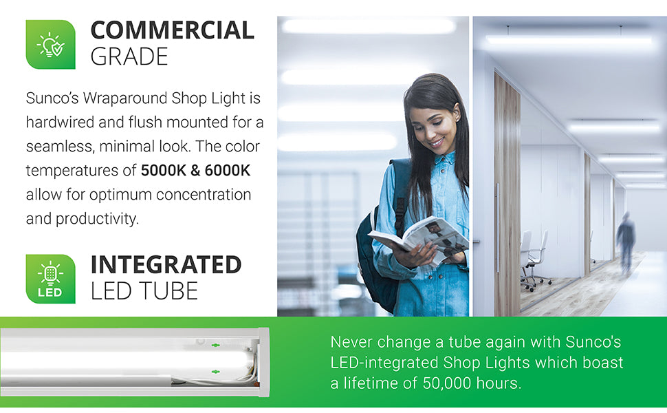 This linkable wraparound LED shop light is strong enough for any job. Image shows three applications a classroom, office hallway, and a DIY home workshop in a garage. This damp rated light is available in a 5000K color temperature for great task lighting. This shop light features a durable frame, integrated LEDs, and a brightness of 3500 lumens. It also provides a 50,000 hour lifespan and is direct wired to the ceiling.