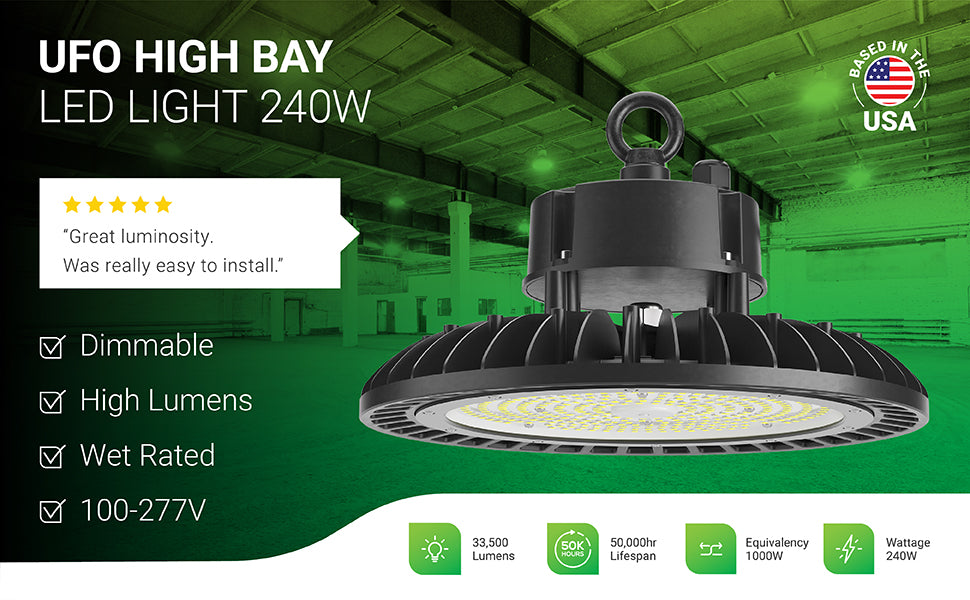 Sunco dimmable UFO High Bay Lights offer durable construction and a high lumen count. This 240W light fixture is an 1000W equivalent with 33,500 lumens of bright light. Our high bays have a 50,000 hour lifespan and are commercial grade with 100/277V power. Image shows round UFO high bay light fixtures in a warehouse suspended from hanging hooks and the included lifting ring. Closeup of fixture shows fins that offer great heat dissipation with the ambient air.