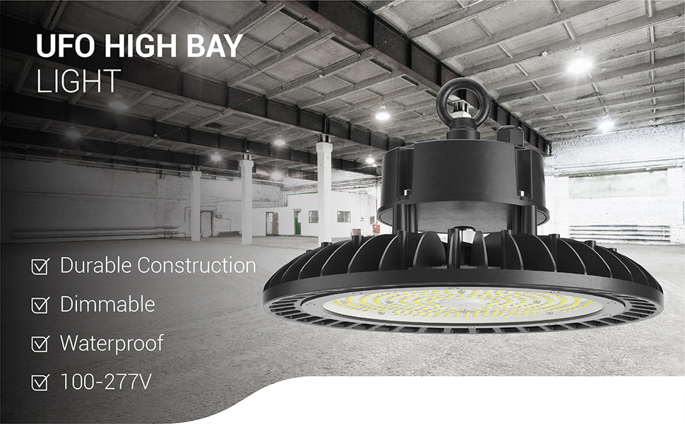 UFO High Bay 240W LED Fixture is dimmable and waterproof. This LED high bay light offers commercial quality durable construction and runs on 100-277V.