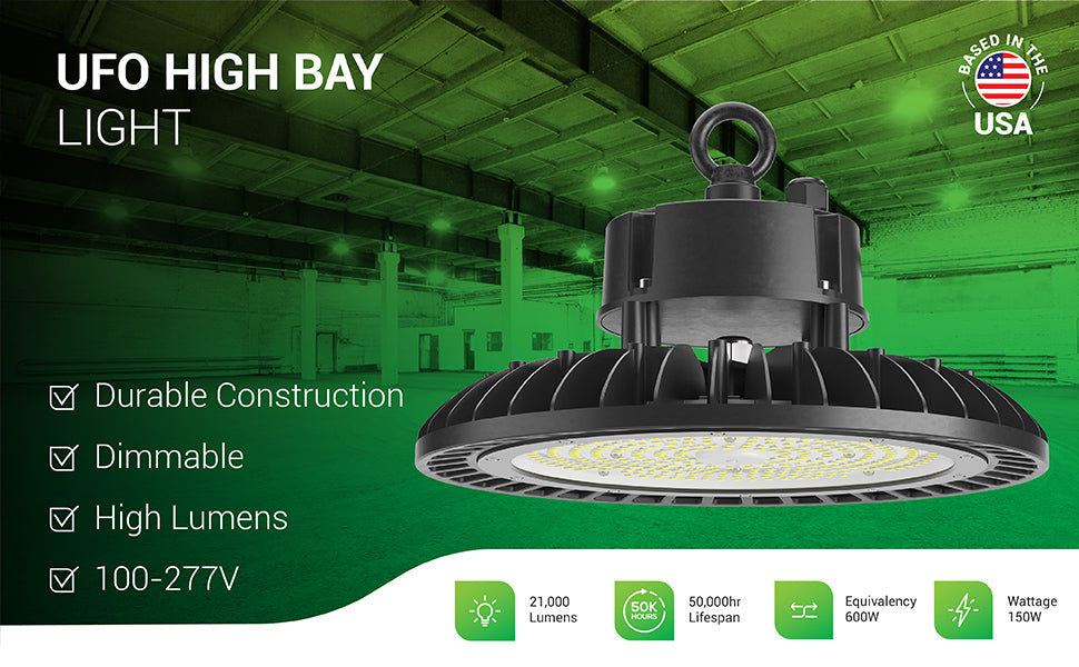 Sunco dimmable UFO High Bay Lights offer durable construction and a high lumen count. This 150W light fixture is a 600W equivalent with 21,000 lumens of bright light. Our high bays have a 50,000 hour lifespan and are commercial grade with 100/277V power. Image shows round UFO high bay light fixtures in a warehouse suspended from hanging hooks and the included lifting ring. Closeup of fixture shows fins that offer great heat dissipation with the ambient air.