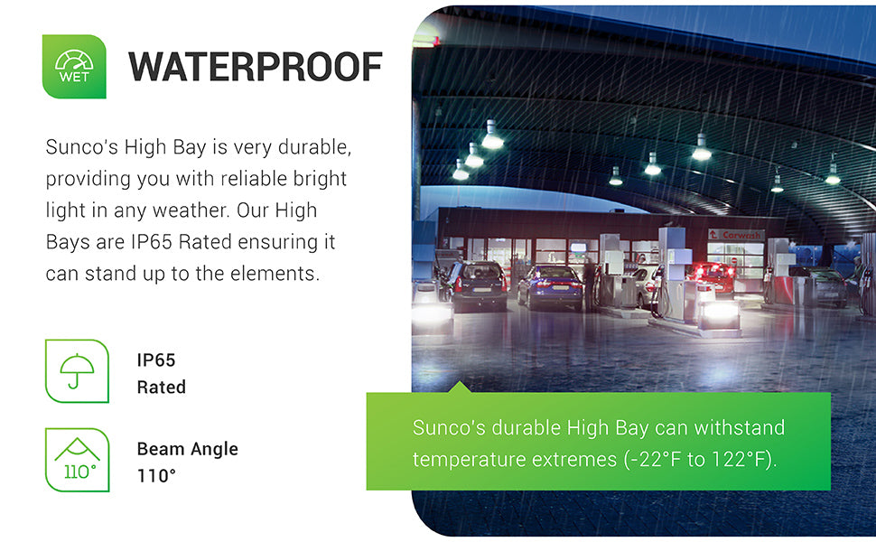 Waterproof. Sunco's UFO High Bay is very durable and provides you with reliable, bright light in inclement weather. Our High Bays are IP65 rated to ensure it can stand up to the elements. Image shows UFO High Bay LED light fixtures in a gas station canopy near a convenience store. These 28,000 lumen lights create a 110 degrees wide beam angle of bright light. This durable light fixture can withstand temperature extremes from -22 degrees F-122 degrees F.