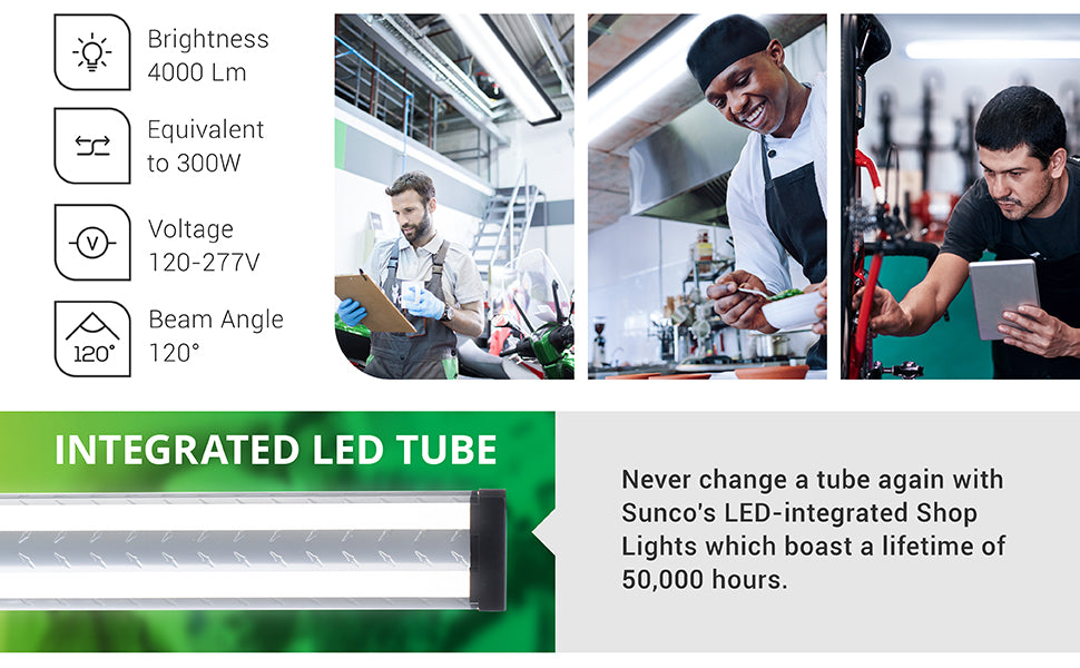 LED Industrial Shop Light is designed to provide long-lasting, bright light in a durable fixture. With its integrated LED tubes you will not need to relamp during its 50,000 hour lifetime. Tech specs include: brightness: 4000 lumens, beam angle: 120 degrees, voltage: 120V. This is a 40W light fixture that is a 300W equivalent. Images show a motorcycle mechanic, a chef in a kitchen, and a man adjusting equipment, all with an industrial shop light overhead.
