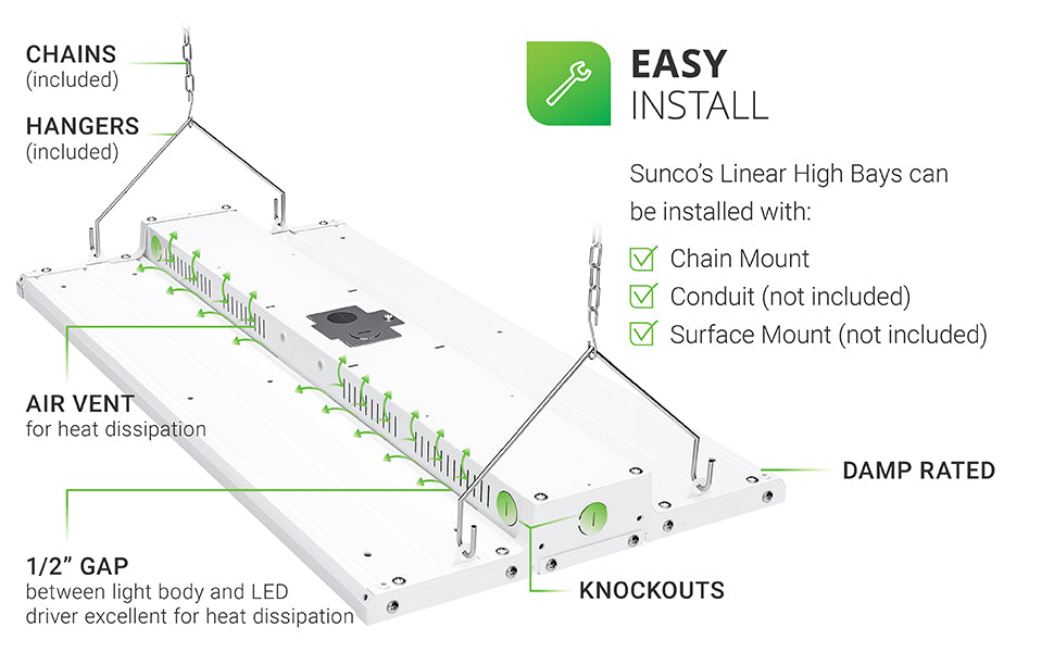 Easy Install. The damp rated Sunco Linear High Bay can be installed with chain mount, conduit (not included), and surface mount (not included). Image points out the features and installation options. There are knockouts on the fixture for an added, optional motion sensor accessory. A 1/2 inch gap between the light body and LED driver make for excellent heat dissipation, so do the air vents along the side of the LED fixture body.