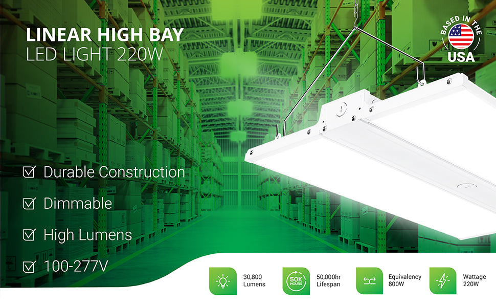 Sunco 220W Linear High Bay LED light fixture is an area light fixture that comes with hanging chains and V hooks to suspend the light where it is needed for bright, task lighting. The fixture features durable construction and is dimmable with a high lumen count of 30800 lumens. This 220W LED has an 800W equivalency to reduce power consumption. It also offers a 50,000 hour lifespan and is an integrated LED light fixture to reduce maintenance.