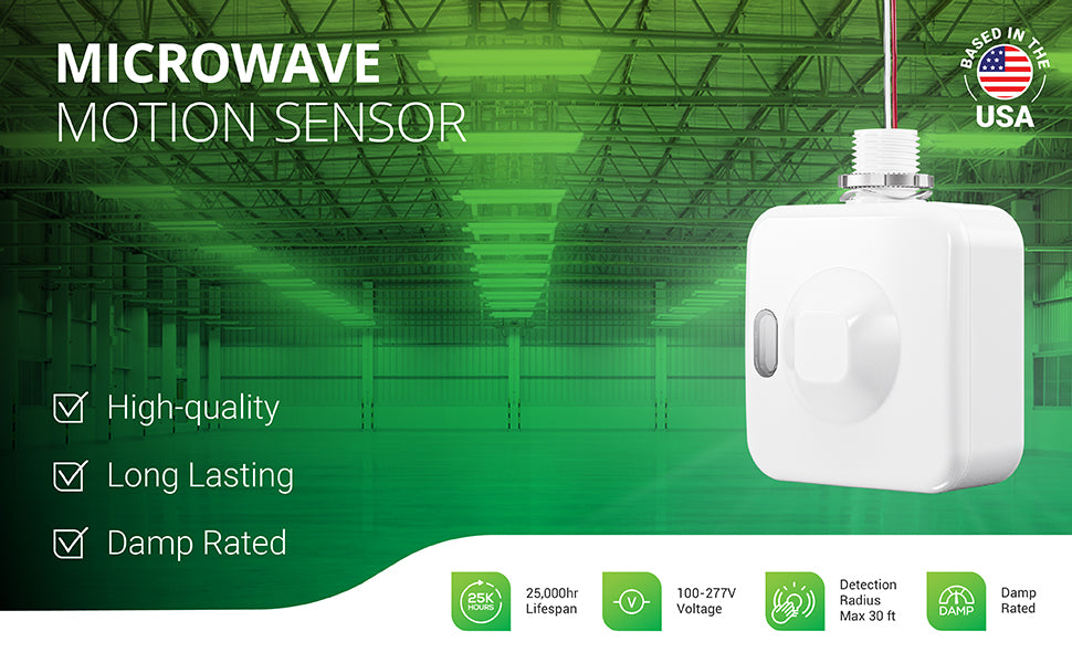 Sunco Microwave Motion Sensor is designed for Linear High Bays to provide an occupancy sensor or motion activated high bay light fixture. This high-quality and damp rated sensor delivers long-lasting motion activation on area lights. It has a 25,000 hour lifespan, runs on 100-277V power and offers a 20ft maximum detection radius. Use the DIP switches to adjust settings to suit your needs in any large warehouse space like the one shown here.